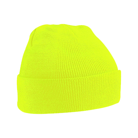 Acrylic Knitted Hat in fluorescent-yellow