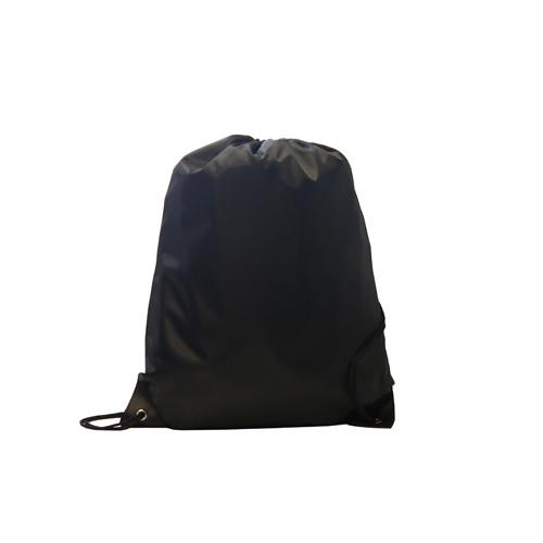Kids Black Polyester Drawstring Sports Bag in
