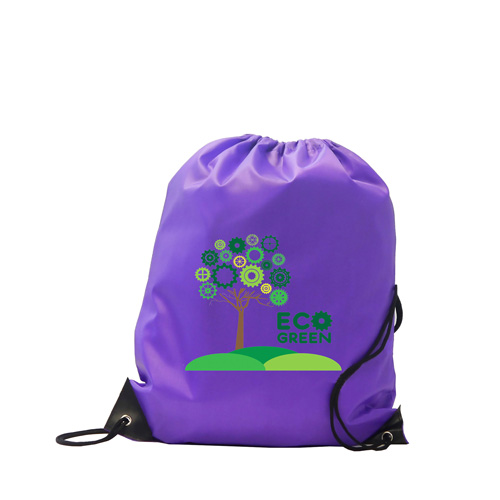 Kids Black Polyester Drawstring Sports Bag in purple