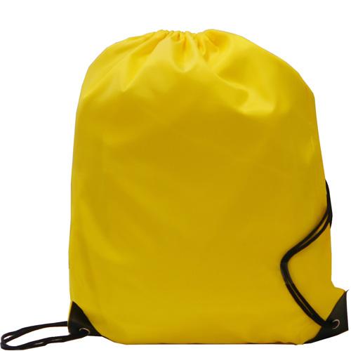 Kids Black Polyester Drawstring Sports Bag in yellow