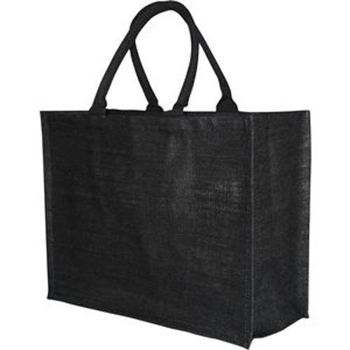 Bio-degradable Large Black Jute Bag With 40cm Cotton Web Handles