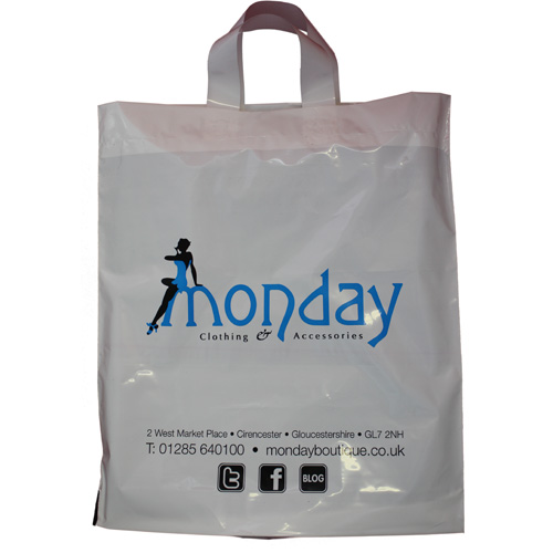 12 Inch Flexi-Loop Carrier Bags, printed to both sides.