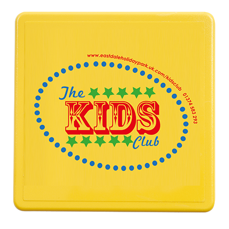 Solid Plastic Coasters in square-yellow