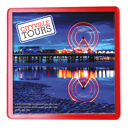 Plastic Insert Coasters in square-red