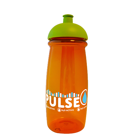 Pulse Sports Bottle in orange-domed-lid