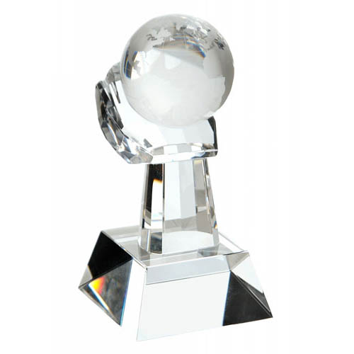 Large Globe In Hand Trophy