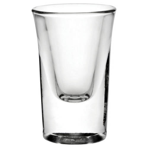 Heavy walled flared top tot glass bulk packed