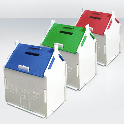 Recycled House Shaped Money Box