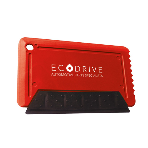 Icescraper Credit Card Ice Scraper with Rubber in red