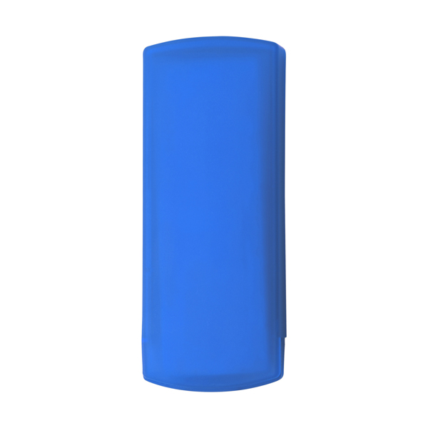 Plastic case with five plasters in cobalt-blue