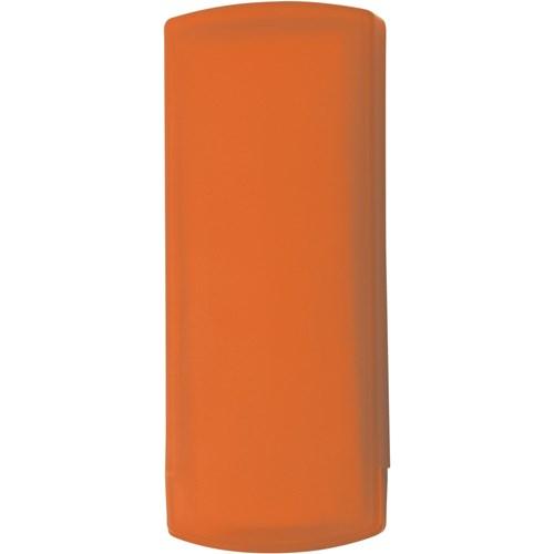 Plastic case with five plasters in orange