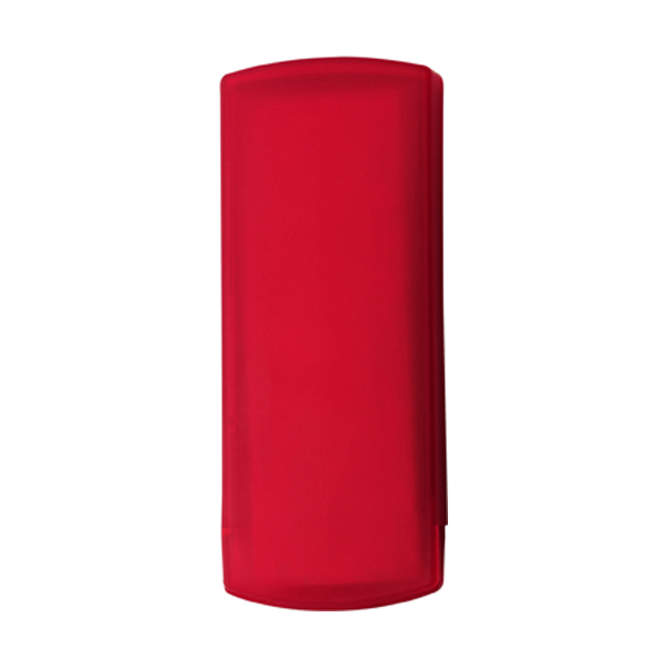 Plastic case with five plasters in red