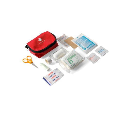 First aid kit in a nylon pouch in red
