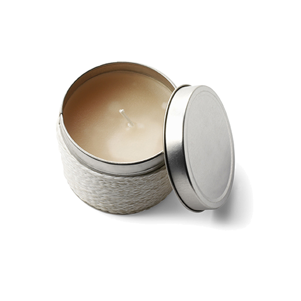 Candle in a tin in white