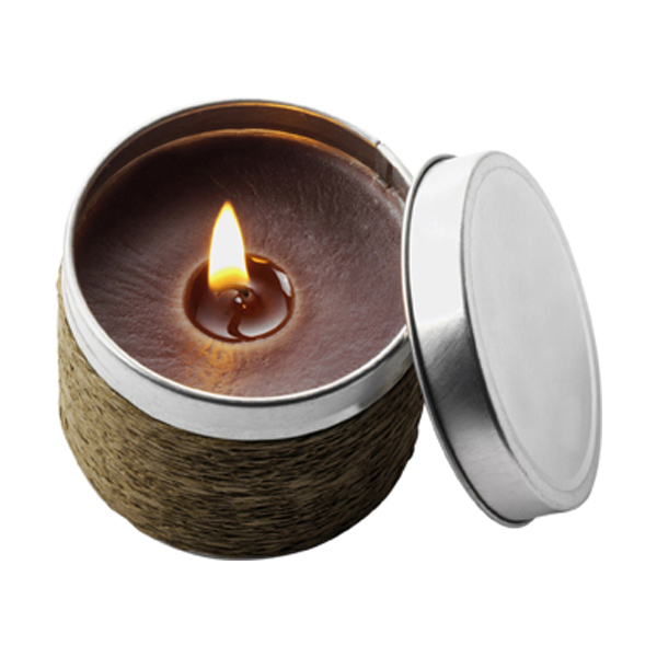 Candle in a tin in brown