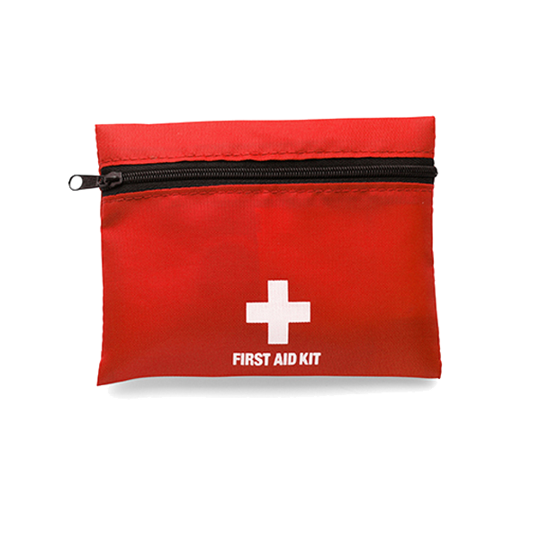 First aid kit in a nylon pouch in