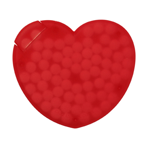 Heart plastic mint card. in red