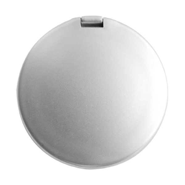 Plastic double pocket mirror. in silver