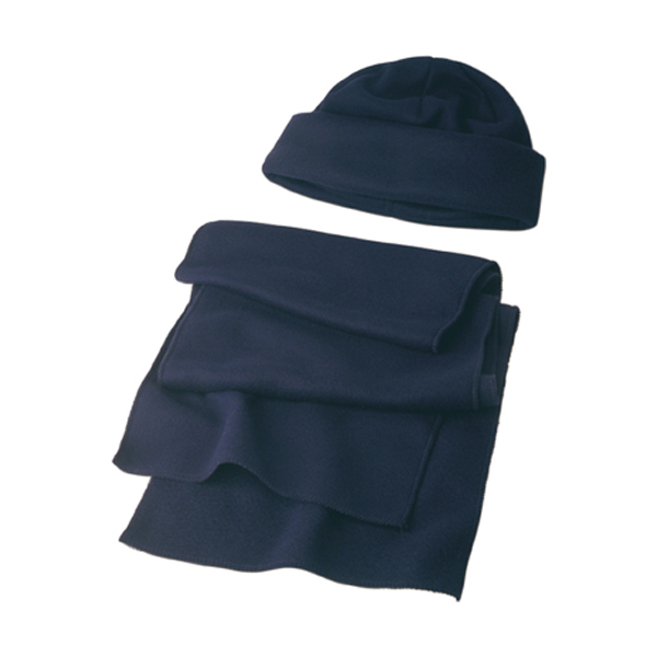 Fleece cap and scarf. in blue