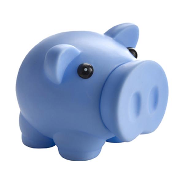 Plastic piggy bank in light-blue