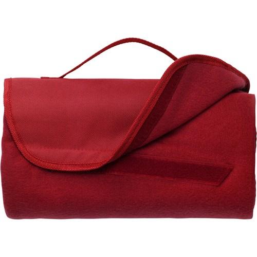 Fleece travel blanket in red