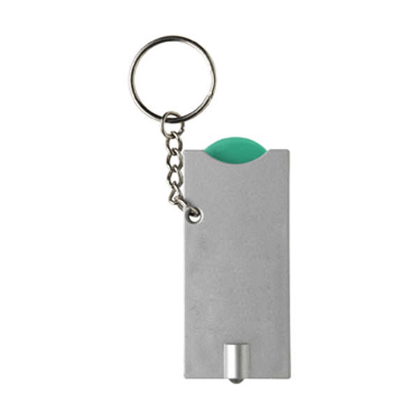 Key holder with coin (€0.50 size) in light-green