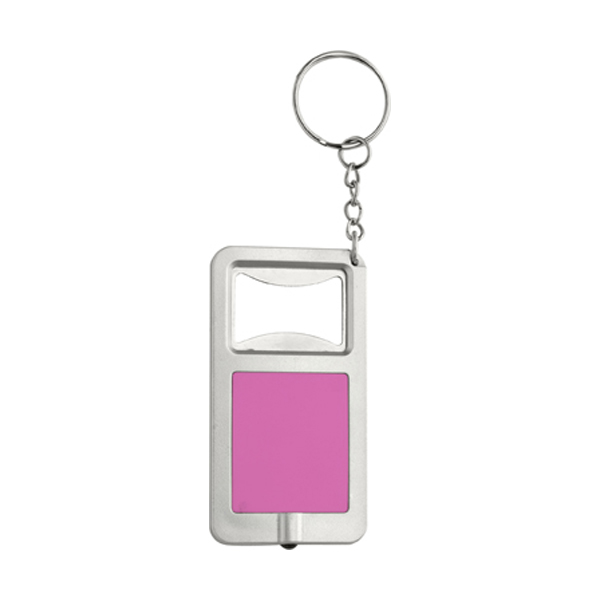 Bottle opener with LED light in pink