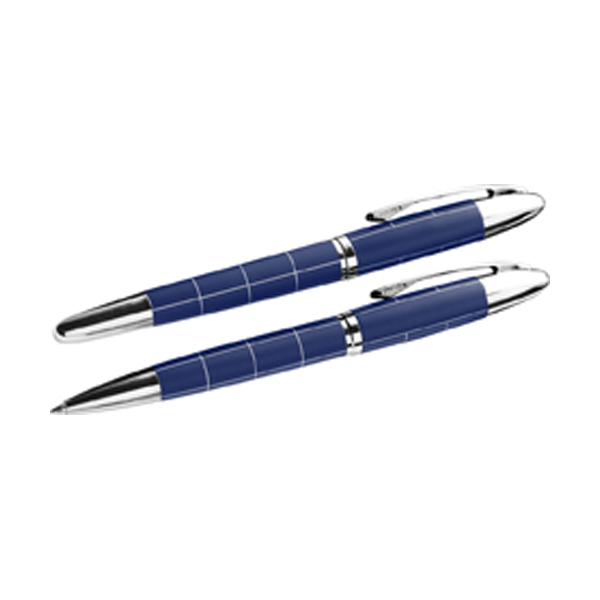 Metal ballpen and rollerpen in blue-and-silver