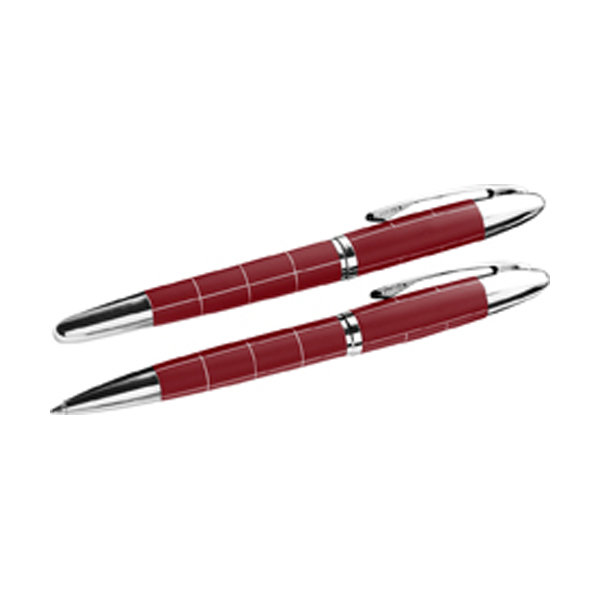 Metal ballpen and rollerpen in red-and-silver