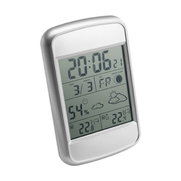 Digital weather station in silver