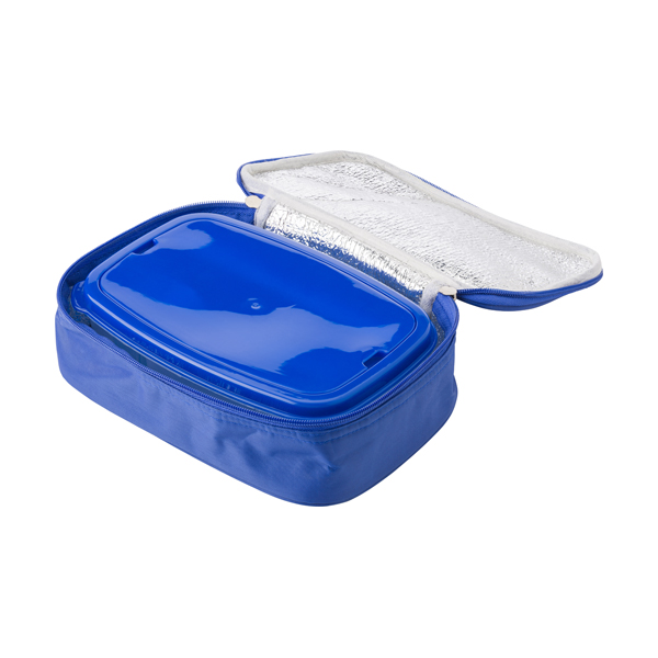 Cooler bag in a polyester material with a plastic with lunch box. in
