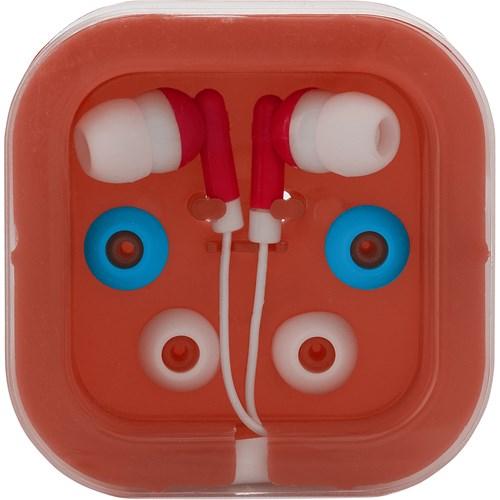 Pair of earphones. in red