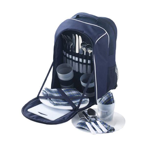 Picnic rucksack for four people in blue