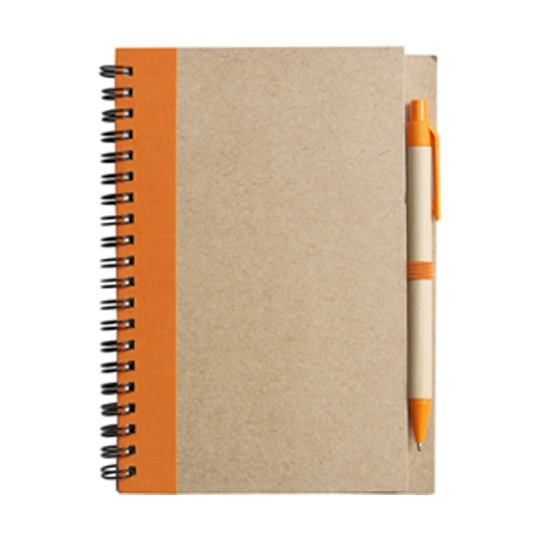 Recycled notebook. in orange
