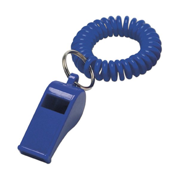 Whistle with wrist cord in blue