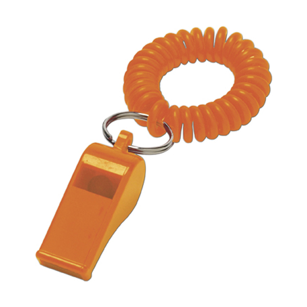 Whistle with wrist cord in orange
