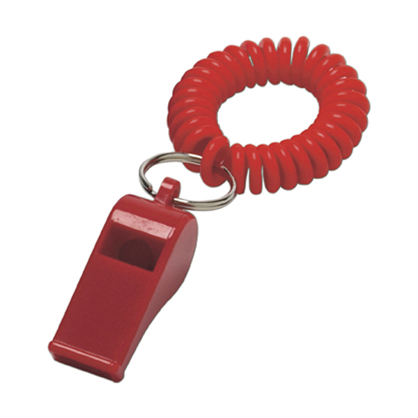 Whistle with wrist cord in red