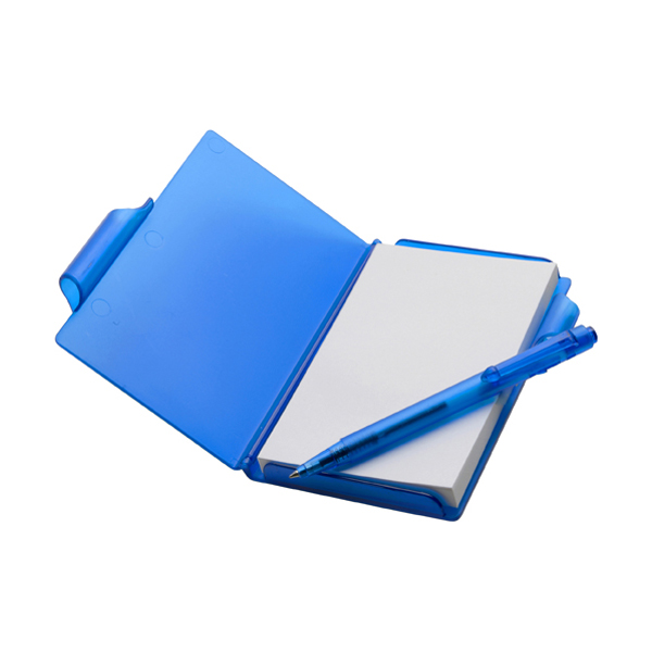 Notebook with pen in blue