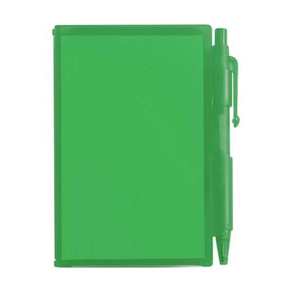Notebook with pen in green