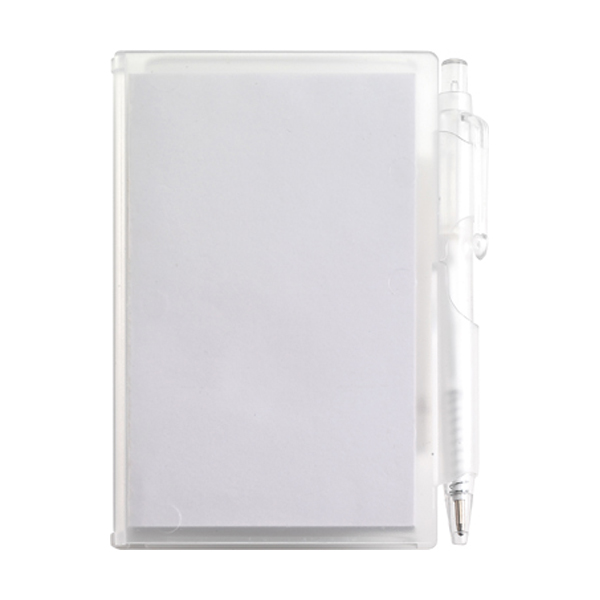 Notebook with pen in white