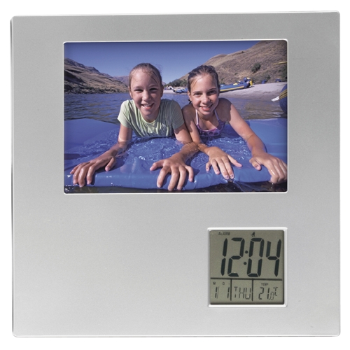 Photo frame with digital clock in silver