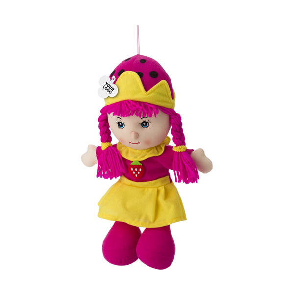 Cotton stuffed, girl shaped doll with a dress