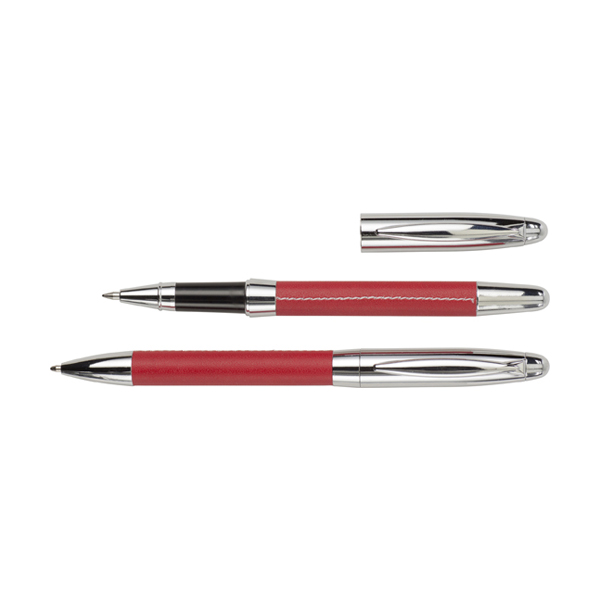 Metal ballpen and rollerpen. in red