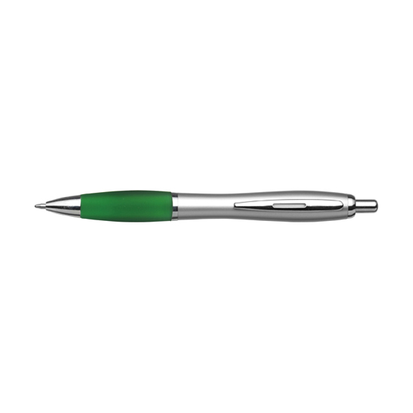 Cardiff ballpen with silver barrel. in green