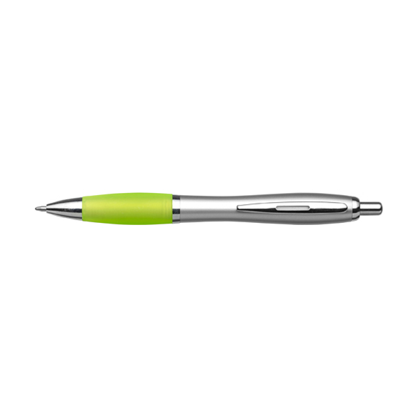 Cardiff ballpen with silver barrel. in lime