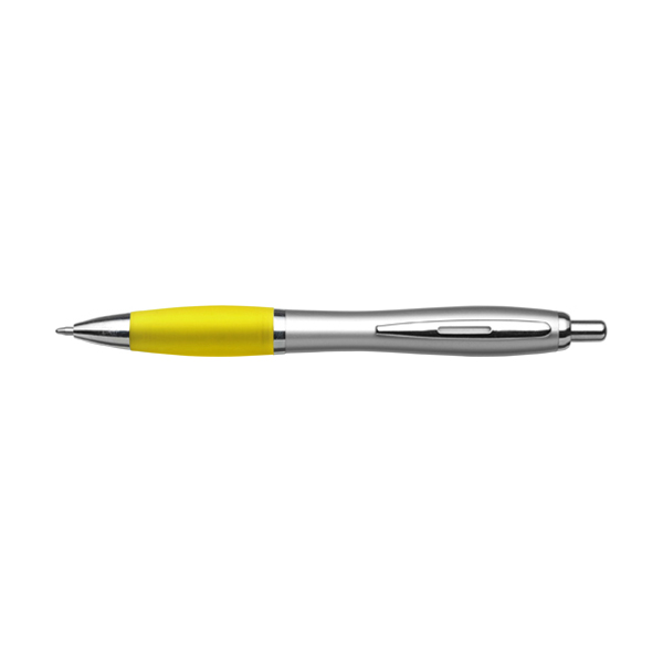 Cardiff ballpen with silver barrel. in yellow