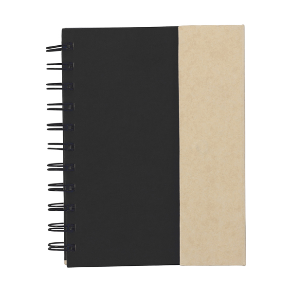 Wire bound notebook. in black