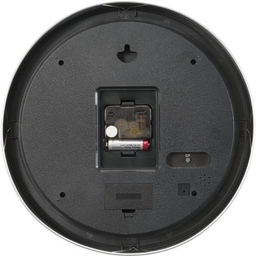 Plastic 30cm wall clock. in silver