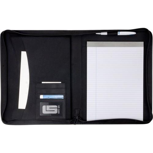 A4 Zipped PVC folder. in black