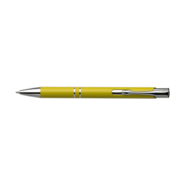 Ballpen with blue ink. in yellow